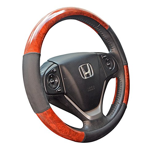 - ZYHW Car Steering Wheel Cover Universal 15 Inch Middle Size Auto Anti-slip Leather Wheel Protector with Wood Grain Design Black Style B