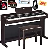 Yamaha Arius YDP-144 Traditional Console Digital Piano - Rosewood Bundle with Furniture Bench, Headphones, Fast Track Music Book, Online Lessons, Austin Bazaar Instructional DVD, and Polishing Cloth