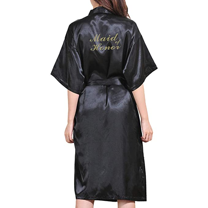 Juleya Carta de Dama de Honor Brillo Dorado Estampado Kimono Togas Faux Seda Mujeres Boda Larga Preparewear Fiesta Nupcial Bata: Amazon.es: Ropa y ...
