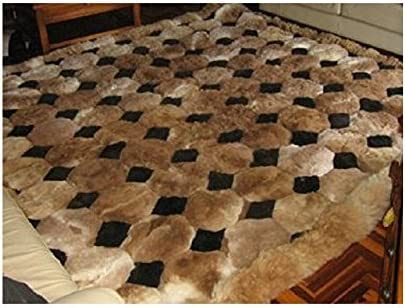 Alpaca Fur Rug. 43in X 55in. Rectangle Brown and Black. Octagon Design. Soft Alpaca Fur.