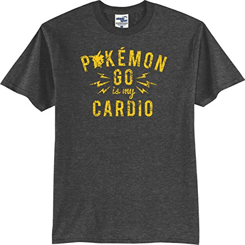 Utopia Sport Pokemon Fans Pokemon Go is My Cardio T-Shirt (S-XXXXL) (Large, Dark Heather)