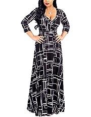 Akmipoem Women's Floral Print Wrap V Neck 3/4 Sleeve Maxi Long Swing Dress with Belt