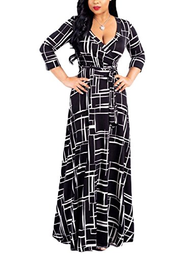 Ladies Geometric Print Deep V Neck 3/4 Sleeve Tie Waist Swing Beach Party Maxi Long Dresses Black S