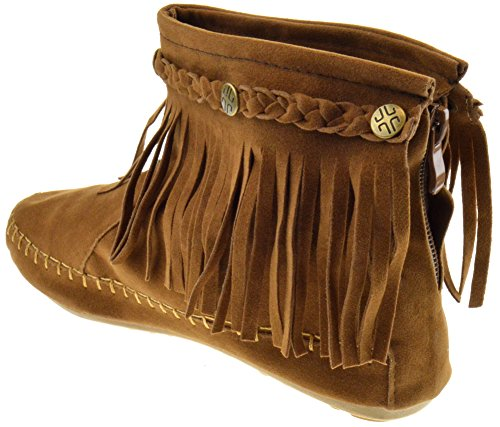 01 Ankle Moccasin Fringe Tan Boots TG YdqA8A
