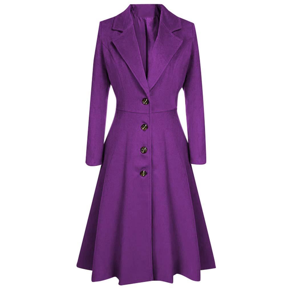 Wenini Womens Winter Trench Coat Lapel Wrap Swing Button Long Trench Coat Jacket Ladies Overcoat Jacket Outwear by Wenini Women Coat
