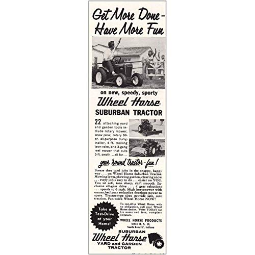 Photo RelicPaper 1960 Wheel Horse Suburban Tractor: Get More Done, Wheel Horse Print Ad