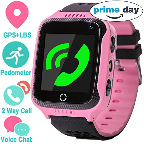 GPS Tracker Smart Watch for Kids - GPS Locator Pedometer Fitness Tracker Touch Camera Games Light Touch Anti Lost Alarm Clock Smart Watch Bracelet Compatible with iPhone Android (Pink)