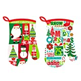 Oven Mitts, Merry Christmas 2 Design Assorted, Oven Mitts Heat Resistant, Merry Christmas Printed, Eco-Friendly & Safe, Set of 2, size 7 x 10 Inches , Machine Washable, Kitchen Oven Mitts