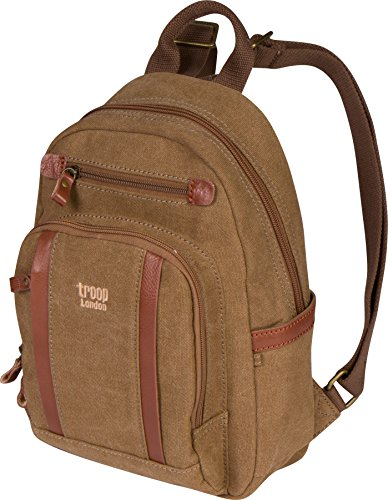 (Troop London Canvas Backpack Leather Trims With Many Pockets Size Small TRP0255 (2 - Brown))