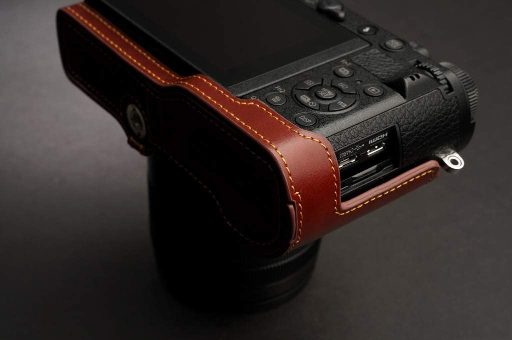 Handmade Genuine Real Leather Full Camera Case Bag Cover for Panasonic GX9 GX7 Mark iii Brown Color