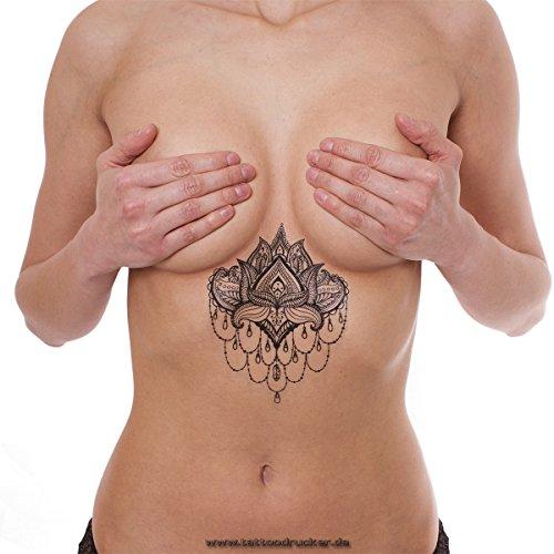 5 x Mandala Lotus Flower Tattoo - Indian Mandala temporary Tattoo