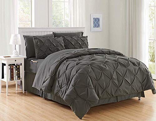 Decotex 8 Piece Luxury Juliet Pintuck Style Bed in a Bag Comforter Bedding Set with Sheets (King, Gray)