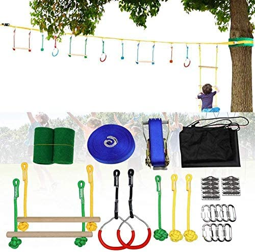 Kinder Slackline Hanging Hindernisparcours Set Baum Hängende Hindernisse Line Sling Ring Monkey Pole Training Kombination Kinder Climbing Bar Kit Swinging Course Set-7 Stück Set