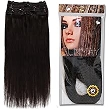 SUNMAY®16''--22'' Remy Human Hair Clip in Extensions Dark Brown (Color #2) 8 pcs Full Head Set 65g-85g MDN (22''85g #2)