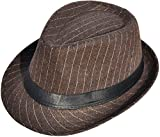 Men / Women's Classic Striped Manhattan Trilby Short Brim Fedora Hat, Brown