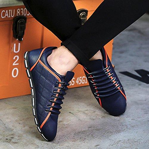 UOMOGO® Casual Viaggio Lavoro Traspirante in All'aperto Sposa da Formale Pelle Scarpe Blu Antiscivolo Uomo Scarpe Sandali da Estivo da nPxTn80