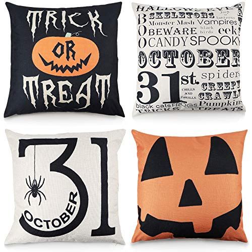 Halloween 1 Cover (FUNARTY Set of 4 Halloween Throw Pillow Covers Trick or Treat Pumpkin Cotton Linen Home Decor Cushion Case for Sofa 18x18)