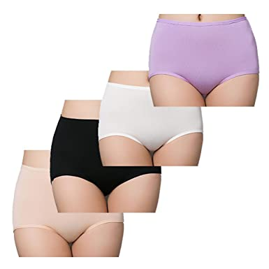 c708ce2d9d2e Image Unavailable. Image not available for. Color: Women's 4 Pack Briefs  Cool Bamboo Fiber Panties Classic high Waist Underwear Girl Lingerie  Underpants