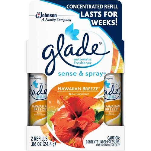 Glade Sense and Spray Twin Pack Hawaiian Breeze Automatic Freshener Refill, 0.86 Ounce - 6 per case.