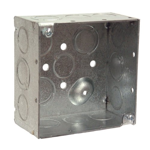 Hubbell-Raco 8232 2-1/8-Inch Deep, 1/2-Inch and 3/4-Inch Side Knockouts, Welded 4-Inch Square Box