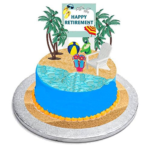 CakeSupplyShop Retirement Cake Topper with Adirondack Chair, Beach Bucket, Palm Trees and Retirement Sign Fish Flip Flop Cake Decoration Kit -