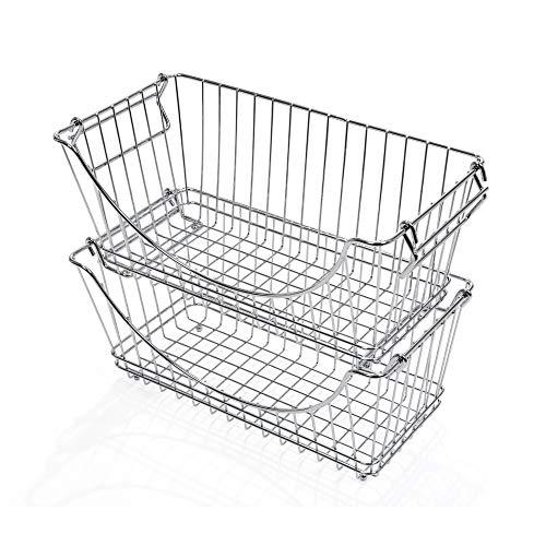 Smart Design Stacking Baskets Organizer w/ Handle - Medium - Steel - for Food, Fruit, & Vegetable Safe - Kitchen (12.63 x 5.5 Inch) [Chrome] (2 ()