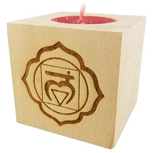 Chakra 1 Muladhara - Root Chakra Candle (Red) - Engraved Wood Tea Light Block (2.5