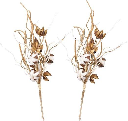 HEALLILY 2 Piezas Tallos de Algodón Decoración Atmósfera Flores de ...
