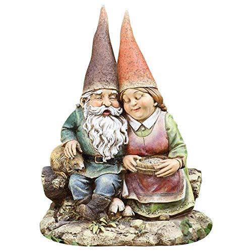 (Napco 12-Inch Tall Sitting Gnome Couple)
