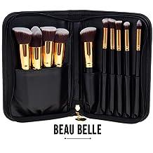 Beau Belle Makeup Brushes - 10pcs Kabuki Brush Set - Professional Makeup Brushes - Kabuki Makeup Brush Set - Makeup Brush Set + Makeup Bag