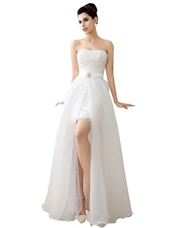 41dee5a7f2b0 Edith qi Fashion Latest Sleeveless Lace Sweetheart Neckline with Detachable Wedding  Dress Ivory