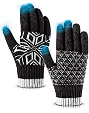 Pvendor Winter Gloves Warm Touch Screen Knit Gloves, Soft Wool Lining Elastic Cuff, Anti-Slip Rubber Design Upgrade Thickening Warm Gloves for Men Women