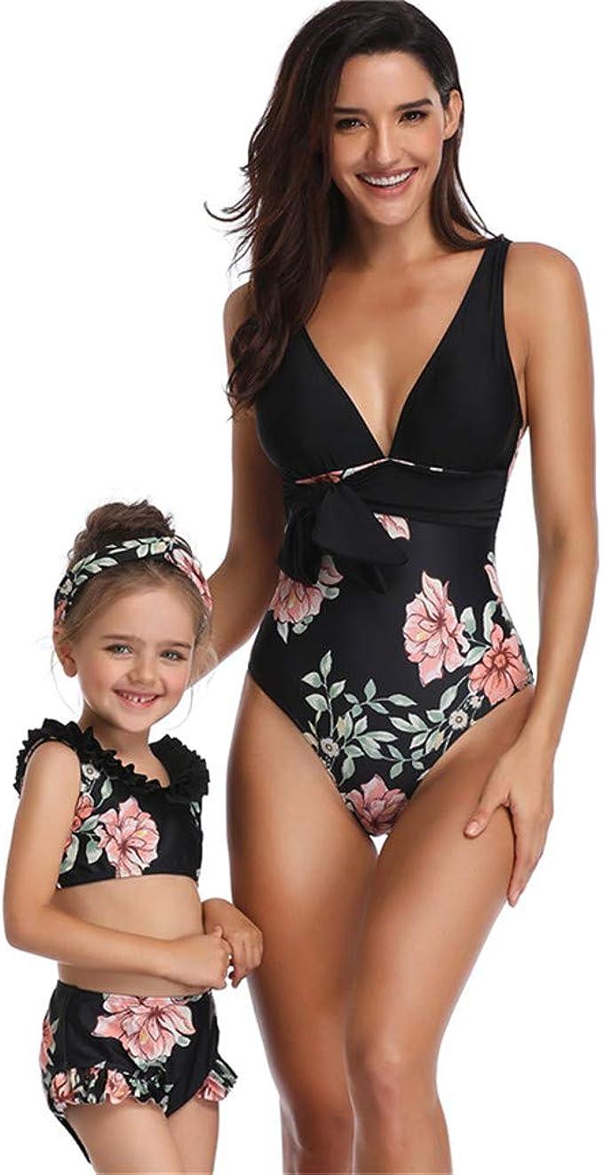 Kfnire Costumi da Bagno Mamma e Me abbiniamo Costumi da Bagno Due Pezzi Bikini da Spiaggia per Donna Bambino