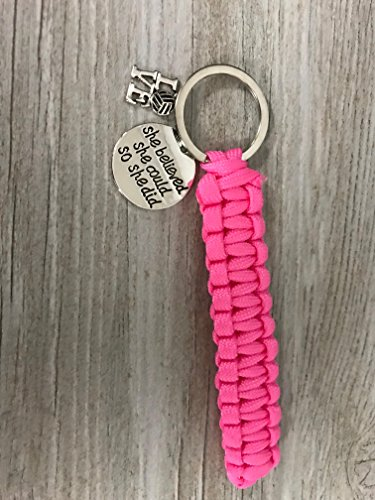 Volleyball Gift- Girls Volleyball She Believed She Could So She Did Paracord Keychain - Perfect Volleyball Gifts for Volleyball Players - I Love Volleyball Paracord Keychain