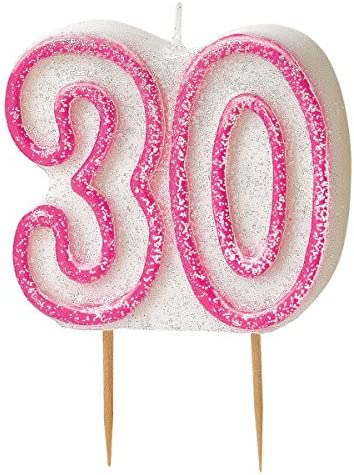 Unique Party Glitz 30th Birthday Candle Pink