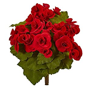 "Nearly Natural 2286-S4-RD 11"" Begonia Bush Artificial (Set of 4) Silk Flowers, Red 44"