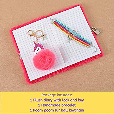 HH Family Unicorn Llama Girls Diary Writing Journal Notebook with Matching Bracelet and Fur Ball Key Chain (Happy unicorn R): Office Products