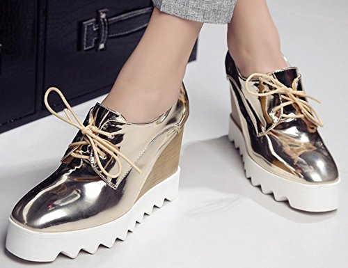 Heel Platform Wedge Lace High Gold Idifu Womens Shoes Sneakers Up Dressy wqA4xpI
