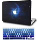"""KEC Laptop Case for MacBook Air 11"""" w/ Keyboard Cover Plastic Hard Shell Case A1465/A1370 2 in 1 Bundle (Blue)"""