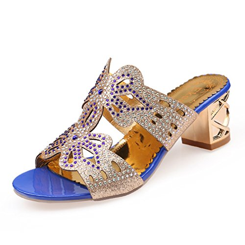 Dovaly Sandals of Woman Fashion Rhinestone Hollow Heel Classics Wedding Party Beach Sandals