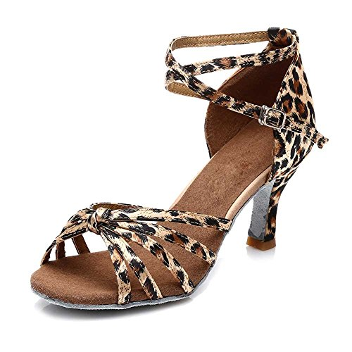 Roummall Frauen Satin Latin Tanzschuhe Modell 217 7 cm Leopard