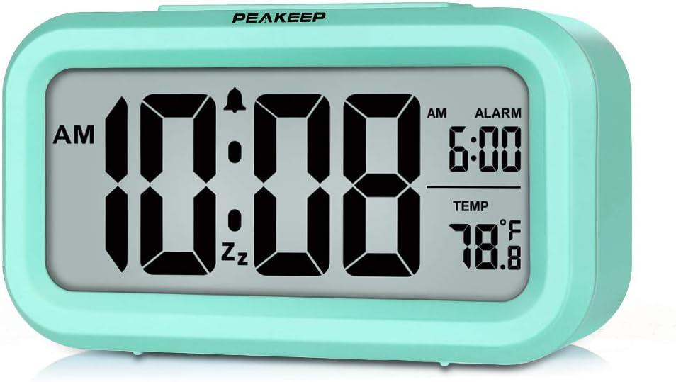 PEAKEEP Smart Night Light Digital Alarm Clock with Indoor Temperature, Battery Operated Desk Small Clock (Mint)