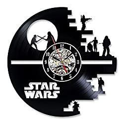 Star Wars LED Lights Vinyl Record Wall Clock Record Home Art Decor Gift Design of Black Death Star and Characters Darth Vader Luke Skywalker Princess Leia and Yoda