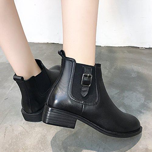 HGTYU-Flat Bottom Boots Martin Boots The Black Autumn Winter Short Barrel Chelsea Boots Black qOmWsi2ba