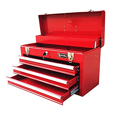Excel TB133-Red 20-Inch Portable Steel Tool Box, Red