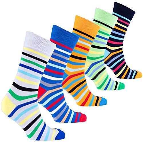 Socks n Socks-Men's 5-pair Luxury Cotton Striped Cool Dress Socks Gift Box ()