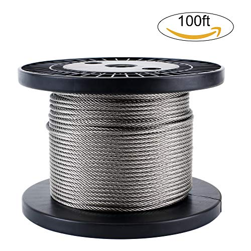 Zoostliss 100Ft Stainless Steel Aircraft Wire Rope 1/8'' for Deck Cable Railing Kit, 7x7 T316 Marin Grade by Zoostliss (Image #9)