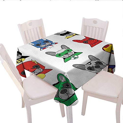 haommhome Superhero Picnic Tablecloth Bulldog Superheroes Fun Cartoon Puppies in Disguise Costume Dogs with Masks Print Party Tablecloth 36