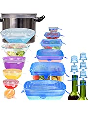 Longzon Silicone Stretch Lids, Reusable Durable Food Storage Covers for Bowls, Cups, Cans, Fit Different Sizes & Shapes of Container