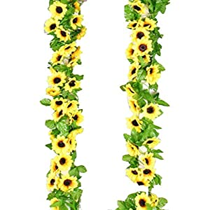 Yaoijin Artificial Fake Sunflower Garland Plants 9